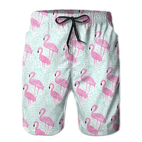 ARTOPB Pink Seamless Flamingos Men's/Boys Casual Shorts Swim Trunks Swimwear Elastic Waist Beach Pants with Pockets Medium,XXL -