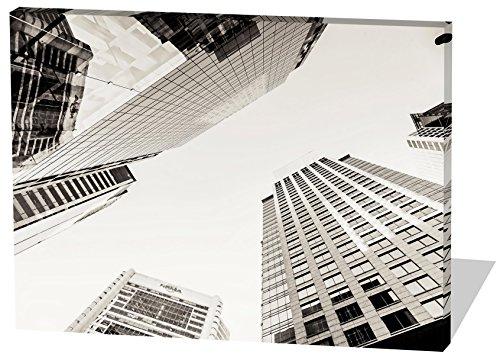 Skyline, Gemälde Effekt, schönes und hochwertiges Leinwandbild zum Aufhängen in XXL - 60cm x 40cm, echter Holzrahmen, effektiver Pigmentdruck, modernes Design für Ihr Büro oder Zimmer
