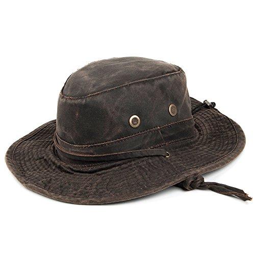 Village Hats Chapeau Bob Boonie en Coton à Effet Usé Marron Dorfman Pacific
