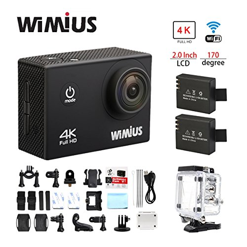"Wimius 4K Action Cam WIFI WebCamera Full HD 1080P 16MP Impermeabile Sport Camera 170 ° Grandangolare 2.0"" Schermo LCD con Vari Accessori Kit Nero"