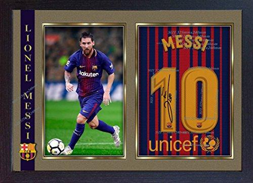 S & E Desing New 2018Lionel Messi Barcelona Autogramm, signiert Poster Foto Kunstdruck gerahmt # 006