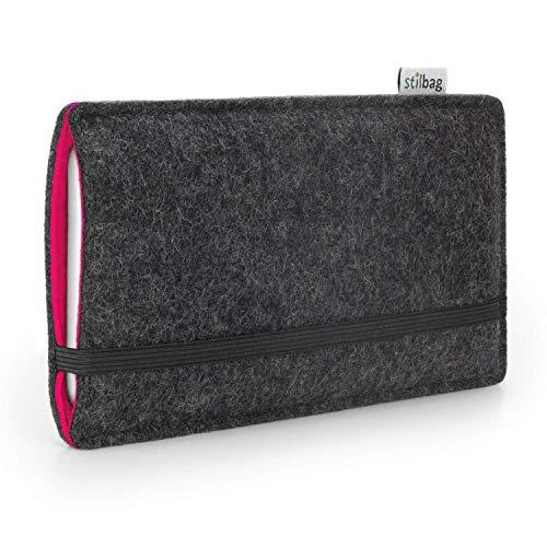 Stilbag maßgeschneiderte Handyhülle FINN - Anfertigung für Smartphones mit Case möglich | Farbe: anthrazit-pink | Smartphone-Tasche aus Filz | Handy Schutzhülle | Handytasche Made in Germany -