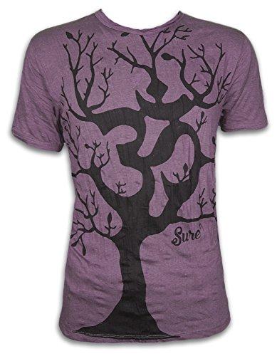 Sure Herren T-Shirt Om Baum des Lebens Aom Symbol Buddhismus Hinduismus Yoga Goa PSY (Violett Braun M) -