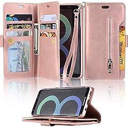 für Samsung Galaxy S7 Wallet Hülle LAPOPNUT Premium PU Ledertasche Hülle Multifunktion Zipper Brieftasche Magnetisch Stand Cover Case Schutzhülle Handyhülle mit Dual Folio Slot Geldtaschen Kreditkarteninhaber Compartment , Rose Gold