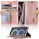 LAPOPNUT für Samsung Galaxy S8 Wallet Hülle PU Ledertasche Hülle Multifunktion Zipper Brieftasche Magnetisch Stand Cover Case Schutzhülle Handyhülle mit Dual Folio Slot, Rose Gold