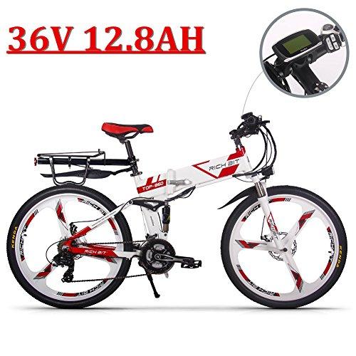 eBike_RICHBIT 860 Hombres Bicicleta eléctrica Plegable 17 X 26 Pulgadas Bicicleta de montaña suspensión Total 250 W 36V 12.8AH 21 velocidades ebike