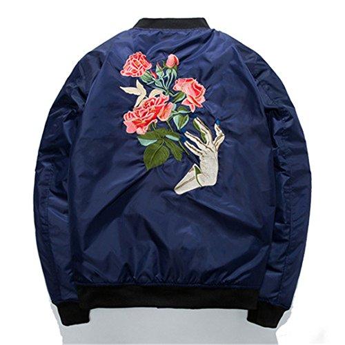 Militär Jacken Herren Mantel, floraler Stickerei Hip Hop Bomberjacke Garderobenständer Kragen lässig Oberbekleidung Windjacke Blau XXL (Militär Xxl Hut)