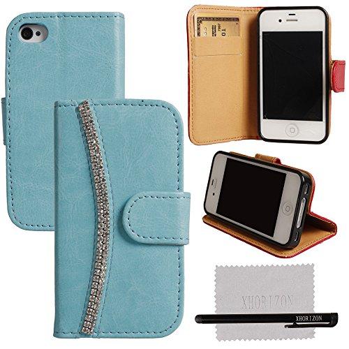 xhorizon® FL Blinkend Kristall Diamant Leder Tasche TascheKartenmappe Stand Case Hülle Für iPhone 4 4S Blau