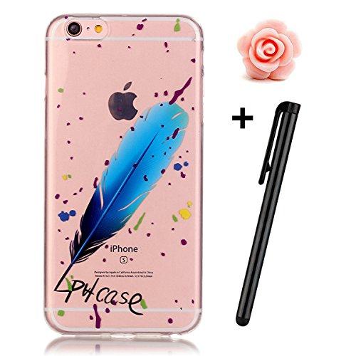 iPhone 7 Hülle,iPhone 7 Case,TOYYM TPU Hülle Schutzhülle Crystal Case Silikon Transparent Hülle Pflaumenblüte Muster Anti-Kratz Zurück Case Cover für iPhone 7 4.7 inch Blaue Feder