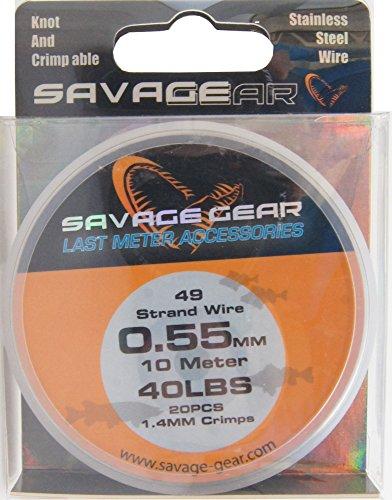 Savage Gear Stahlvorfach 49-fädig 10m + 20 Klemmhülsen, Vorfach zum Hechtangeln, Stahlvorfächer für Hecht, Zander, Barsch, Raubfischvorfach selber bauen, inkl. passender Crimping Hülsen