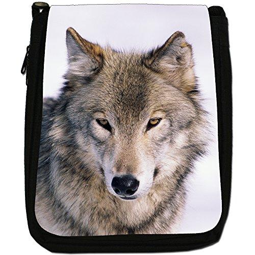 Lupo Lupi Medium Nero Borsa In Tela, taglia M Portrait Of A Wolf