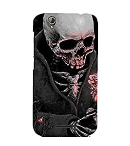Printvisa Premium Back Cover Skeleton Wearing A Coat In Moonlight Design For Acer Liquid Z630