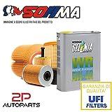 Kit tagliando auto, kit quattro filtri e 5 litri olio motore Selenia WR 5W40 (KF0031/so)