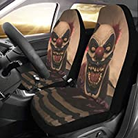 JOCHUAN Travel Car Seat Cover Evil Scary Clown Monster Universal Fit Auto Car Seat Covers Protector For Auto Truck Suv Vehicle Women Lady (2 Front) Car Cover Protector