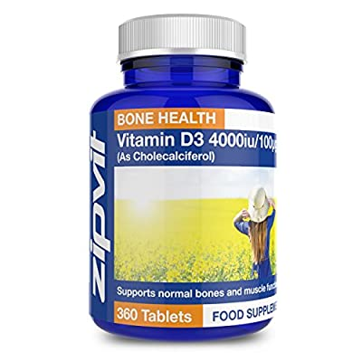 Vitamin D3 4000iu | 360 Tablets | Highest Strength & Vegetarian Friendly | Supports Bone & Muscle Function | Maintains immune System | 12 MONTHS SUPPLY by Zipvit