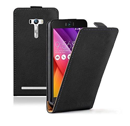 Membrane Asus Zenfone Selfie Lederhülle Schwarz Ultraslim Klapphülle Hülle Magnet Case Flip Cover Schutzhülle
