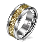 JewelryWe Schmuck 8mm Breite Wolframcarbid Herren-Ring Damen-Ring Hochzeit Band Verlobungsringe mit Gold keltischen Drachen Inlay Größe 62