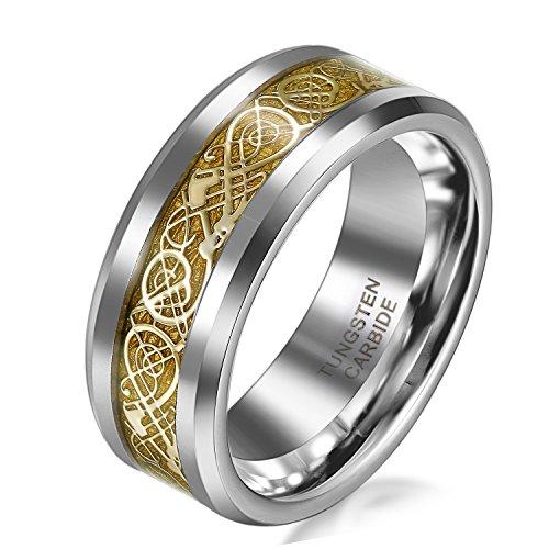 JewelryWe Schmuck 8mm Breite Wolframcarbid Herren-Ring Damen-Ring Hochzeit Band Verlobungsringe mit Gold keltischen Drachen Inlay Größe 54