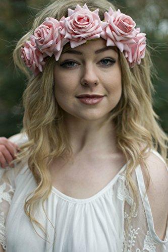 Grand Pêche Rose cheveux fleur rose or couronne Guirlande Boho Bandeau festival V96 * * * * * * * * exclusivement vendu par – Beauté * * * * * * * *