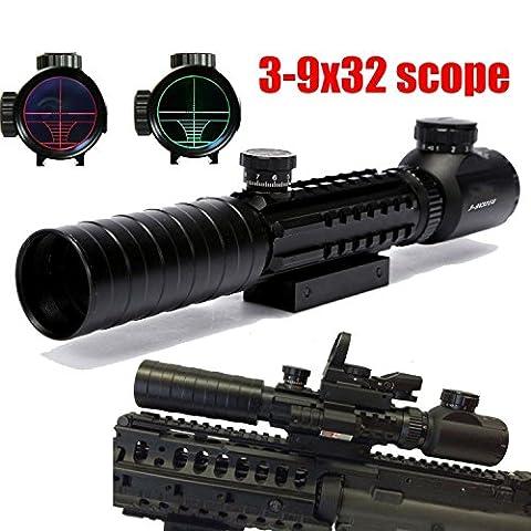RioRand 3-9x32 Eg Riflescope Red&green Illuminated Rangefinder Reticle Shotgun Air