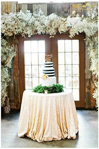 ShinyBeauty Elfenbein Pailletten Tischdecke 300cm Round Great Gatsby Dekorationen Tischwäsche,120-Inch