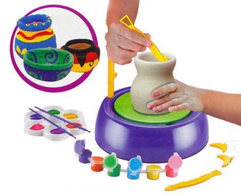 Toyshine Pottery Wheel Game with Colors and Stencils, Creative Educational Game Toy