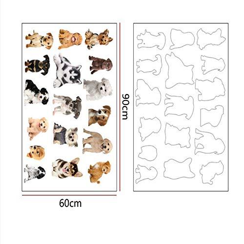 CHENYAN Wandaufkleber Detachable Puppy Wall Stickers Vinyl Diy Early Education Stickers Art Mural Applique Children Living Room Kindergarten Wallpaper (Halloween Puppy Wallpaper)