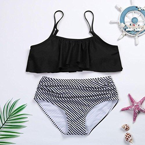 Donne Bikini Set,Flessione sulle braccia Imbottito Reggiseno increspatura banda Costume da bagno Costumi bagnarsi Completo uomo Women Push-up Padded Bra Swimwear Rawdah Nero