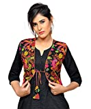 #7: banjara Women's Polycotton Embroidered Kutch Work Shrug(KJK01_s, Black, Free Size)
