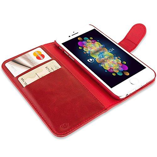iPhone 6 6S Hülle Klapphülle von NICA, Slim Flip-Case Kunst-Leder Vegan, Phone Etui Schutzhülle Book-Case, Dünne Vorne Hinten Handytasche Wallet Bumper für Apple iPhone 6S 6 - Schwarz Rot