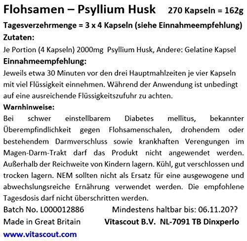 270 Kapseln Flohsamen/Flohsamenschalen – Psyllium Husk – 100% natürlich – PREMIUMQUALITÄT – BESTPREIS