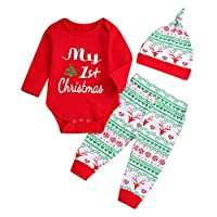 4Pcs Christmas Baby Long Sleeve My First Christmas Romper Snow Romper Bodysuit+Arrow Pant+Hat+Headband Clothes (White, 3-6 Months)