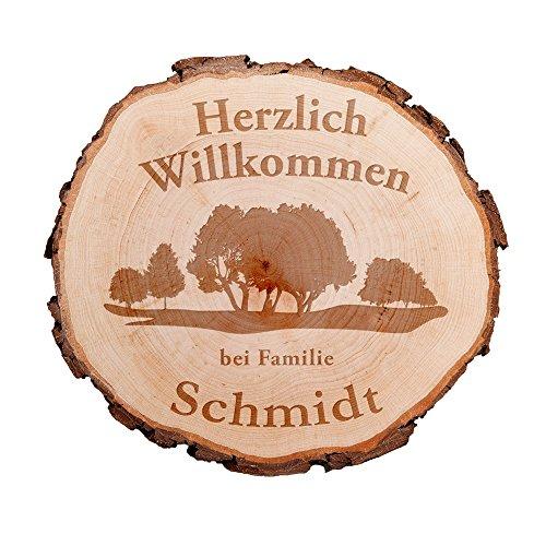"""Baumscheibe mit hochwertiger Gravur """"Familie"""" - Personalisiert mit Namen - Gartenschild aus Holz - Gartenschilder mit Sprüchen - Haustürschild Familie - Haustürschilder mit Namen"""