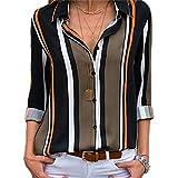 Chemise Femme Manche Longue Élégant Mousseline de Soie Blouse Rayé Chemisier Grande Taille Casual Classique Chic Boutonné Cov V Tunique Tee Tops Hauts T-Shirts (D-Vert, M)