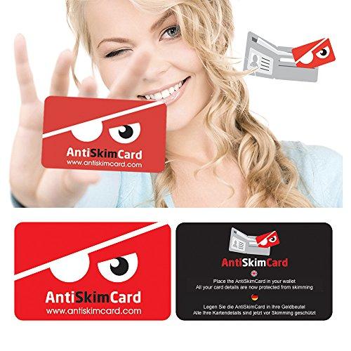 [RFID BLOCKER SCHUTZKARTE] Datenschutz vor RFID & NFC Datendiebstahl - Störsender für EC-Karte, bankkarte, ausweise, kreditkarte, reisepass - passt in Geldbeutel - Datenschutzkarte - Anti Skim Card