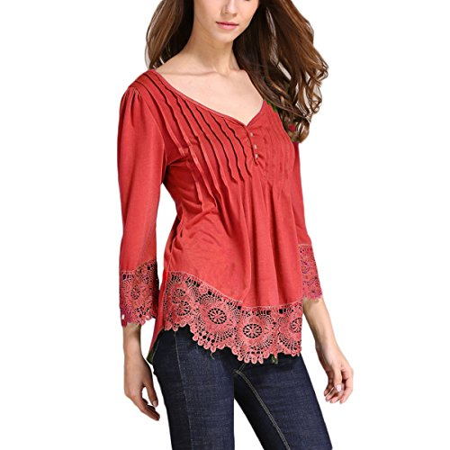 Frauen Casual Einfarbig Sommer Tops Oberteile Loose Spitze Stitch T-Shirt Bluse Rot