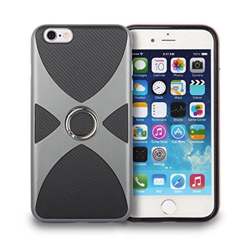 iPhone 6 Plus/6S Plus Coque, Voguecase 2 in 1 TPU + PC [Anneau Series] avec Absorption de Choc, Etui Silicone Souple, Légère / Ajustement Parfait Coque Shell Housse Cover pour Apple iPhone 6 Plus/6S P Gris
