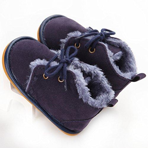 Oderola Schuhe für 3-12 Monate Baby,Gummi Soft-Sohlen Winterstiefel Stiefel Dunkelblau