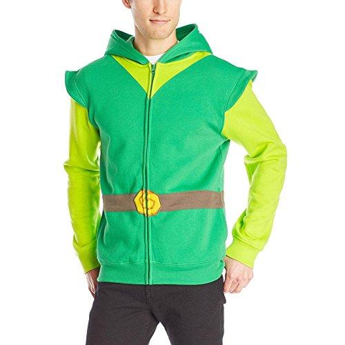 Nintendo Zelda Link Erwachsene Kostüm Zip Up Hoodie (Erwachsene X-Small) (Link Zelda Kostümen)