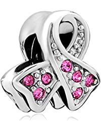 Pugster Color Ribbon Breast Cancer Awareness Crystal Charm Beads For Pandora Charms Bracelet