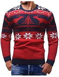 iHENGH Hommes Automne Hiver Pull tricoté Top Pull de Noël Pull Outwear Blouse