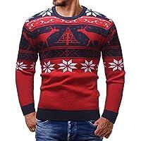 Cebbay Hombre Vintage Reno De Navidad Suéter Cuello Redondo suéter pulóver Liquidación suéter Unisex Adulto