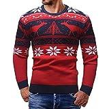 Longra Weihnachten Pullover Herren Christmas Pullover Bluse Tops Weihnachten Schneeflocke Elch Drucken Langarm Sweatshirt Vintage Weihnachtspullover Pullis Rundhals Pullover Outwear (M, Rot)