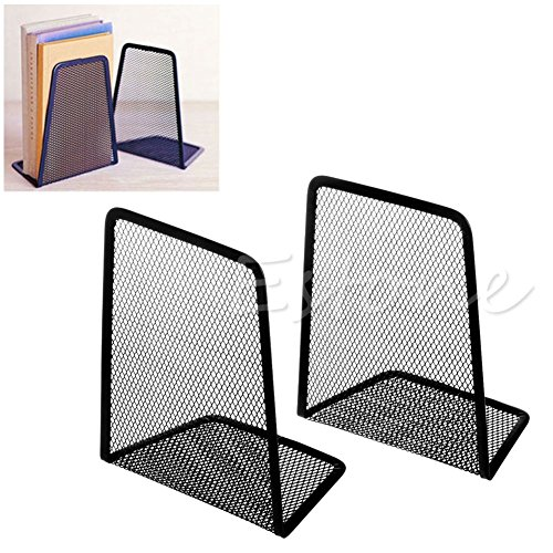 Backpack Book - 1 Pair Black Metal Mesh Desk Organizer Desktop Office Home Bookends Book Holder - Desk Mail Drawers Desktop Vertical Organizer Letter File Modern -