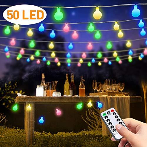 LED Lichterkette Außen, Outdoor Lichterkette Batterie, FishOaky 23FT 50 LED Kugel Lichterkette mit Fernbedienung für Party, Valentinstag, Geburtstag,Indoor, Außerhalb,Garten