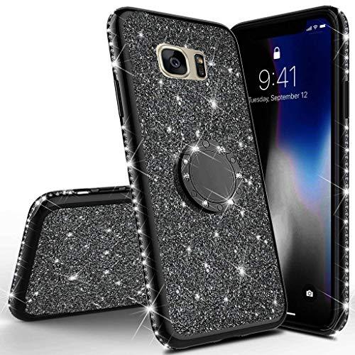 Homikon Silikon Hülle Kompatibel mit Samsung Galaxy S7 Edge Überzug TPU Bling Glitzer Strass Diamant Schutzhülle mit 360 Grad Ring Ständer Flex Durchsichtig Silikon Handyhülle Tasche Case - Schwarz Bling Strass Case