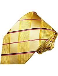 Paul Malone corbata de seda (longitud normal, extra larga o estrecha) oro rayado