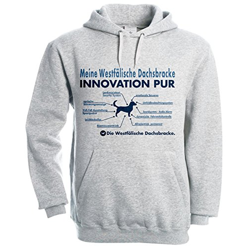 INNOVATION Liste WESTFÄLISCHE DACHSBRACKE Hund Hunde Dachs - Unisex Hoodie Kapuzensweatshirt Pullover Fun Siviwonder heather grey XL - Dachs Hoody