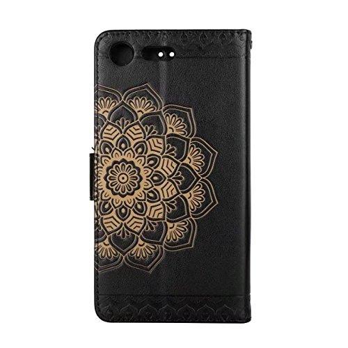 YHUISEN Embossed Half Flower Design [Handgelenkschlaufe] Premium PU Leder Brieftasche Beutel Flip Stand Case für Sony Xperia XZ Premium ( Color : Brown ) Black