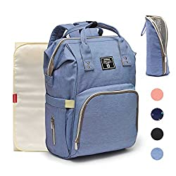 Nappy Changing Backpack,hands-free Diaper Bag Rucksack W Waterproof Changing Mat,stroller Hook,insulated Pockets, Mum Dad Backpack Blue Purple